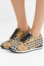 Leather-trimmed checked canvas sneakers