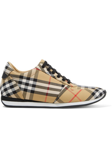 LEATHER-TRIMMED CHECKED CANVAS SNEAKERS from NET-A-PORTER