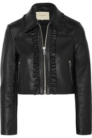 Maje Cropped ruffled leather biker jacket