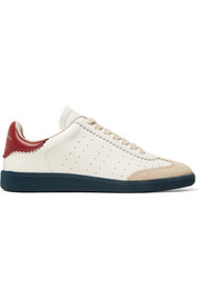 Bryce logo-print suede-trimmed leather sneakers