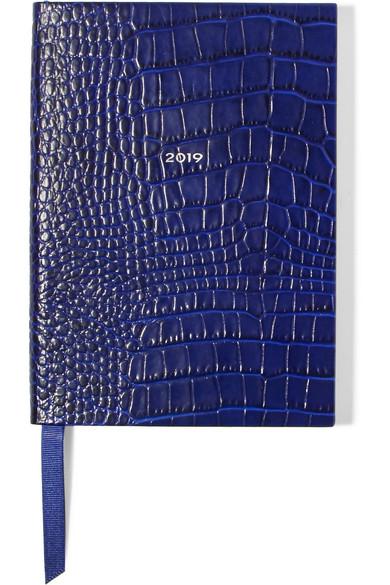 Soho 2019 Croc-Effect Leather Diary, Cobalt Blue