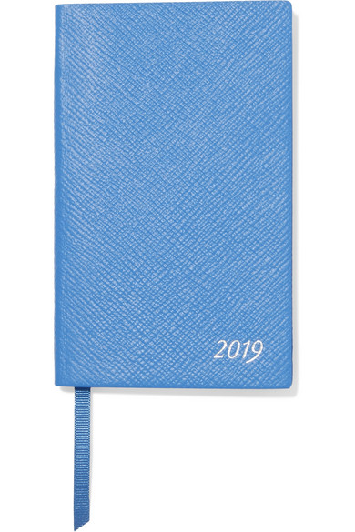 Panama 2019 Textured-Leather Diary, Blue
