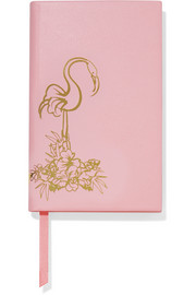 Panama Flamingo textured-leather notebook