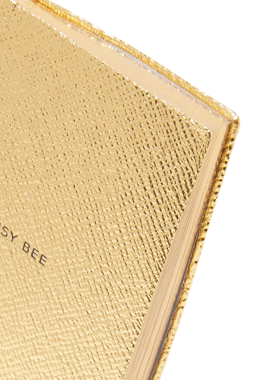Smythson Panama Busy Bee metallic textured-leather notebook