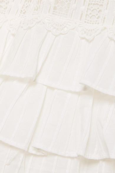 Zimmermann Corsair gestuftes Midikleid aus Baumwolle mit Lochstickerei Billig Verkauf Erhalten Authentisch Manchester Großer Verkauf Günstiger Preis IFrg3ErA4