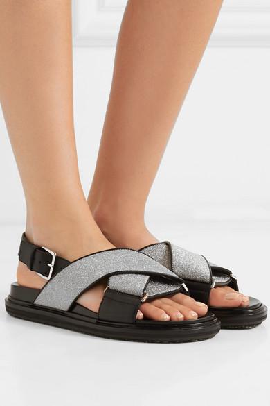 Marni | Slingback-Sandalen Leder aus Leder Slingback-Sandalen mit Glitter-Finish 625658