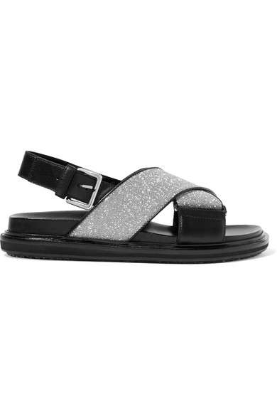 Black And Silver Fussbett Cross-Over Lurex Leather Sandals
