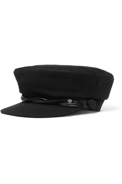 New Abby Leather-trimmed Cotton-twill Cap - Black Maison Michel xDrQ1B5GT