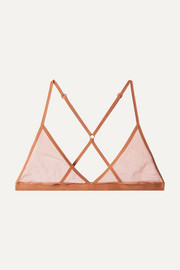 Stretch Pima cotton-tulle soft-cup triangle bra