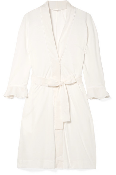 SKIN Blake Voile-Trimmed Pima Cotton Robe in Ivory