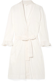 Blake voile-trimmed Pima cotton robe