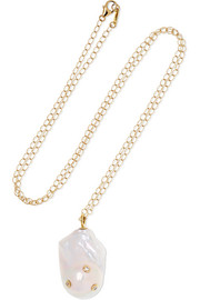 14-karat gold, pearl and diamond necklace