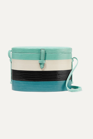 CAROLINA HERRERA TRUNK STRIPED LIZARD SHOULDER BAG