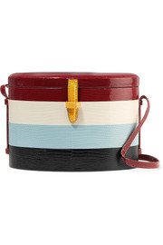 + Carolina Herrera Trunk striped lizard shoulder bag