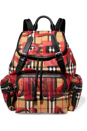 Leather-trimmed printed gabardine backpack