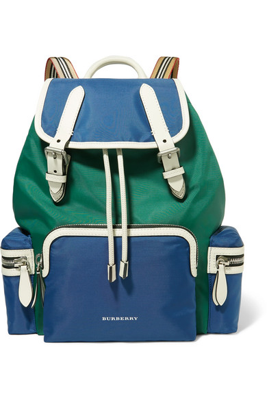 Burberry - Leather-trimmed Shell Backpack - Blue