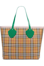 Giant reversible leather-trimmed checked cotton-canvas tote