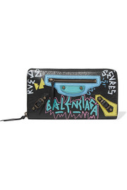 Printed textured-leather continental wallet