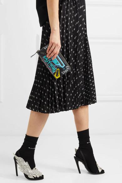 Balenciaga Bedrucktes Portemonnaie im europäischen Stil aus strukturiertem Leder