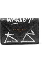 Papier mini printed textured-leather wallet