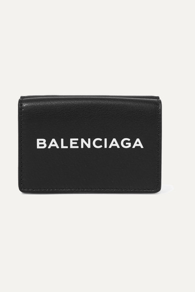 Printed Textured-leather Continental Wallet - Black Balenciaga