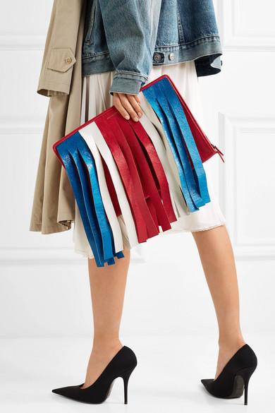 Bester Verkauf Zum Verkauf Spielraum Shop Balenciaga Bazar gestreifter Beutel aus strukturiertem Leder mit Fransen oN4pmf8e