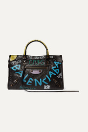 Balenciaga Classic City printed textured-leather tote