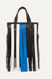 Bazar XS fringed striped textured-leather tote