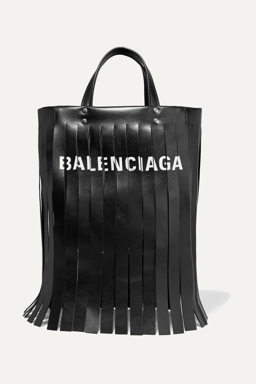 Black Fringed printed leather tote
