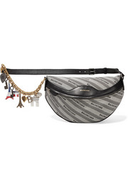 Embellished leather and canvas shoulder bag