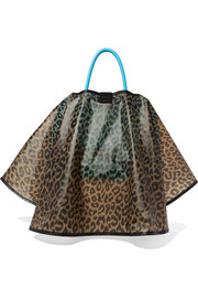 Leopard-print textured-leather tote