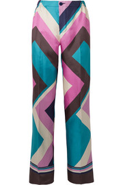 Etere printed silk-twill straight-leg pants
