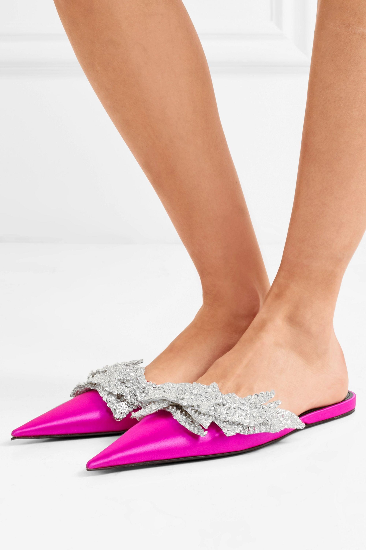 Balenciaga Slash sequin-embellished satin slippers