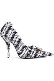Knife embellished frayed tweed pumps