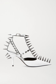 Knife spiked leather pumps