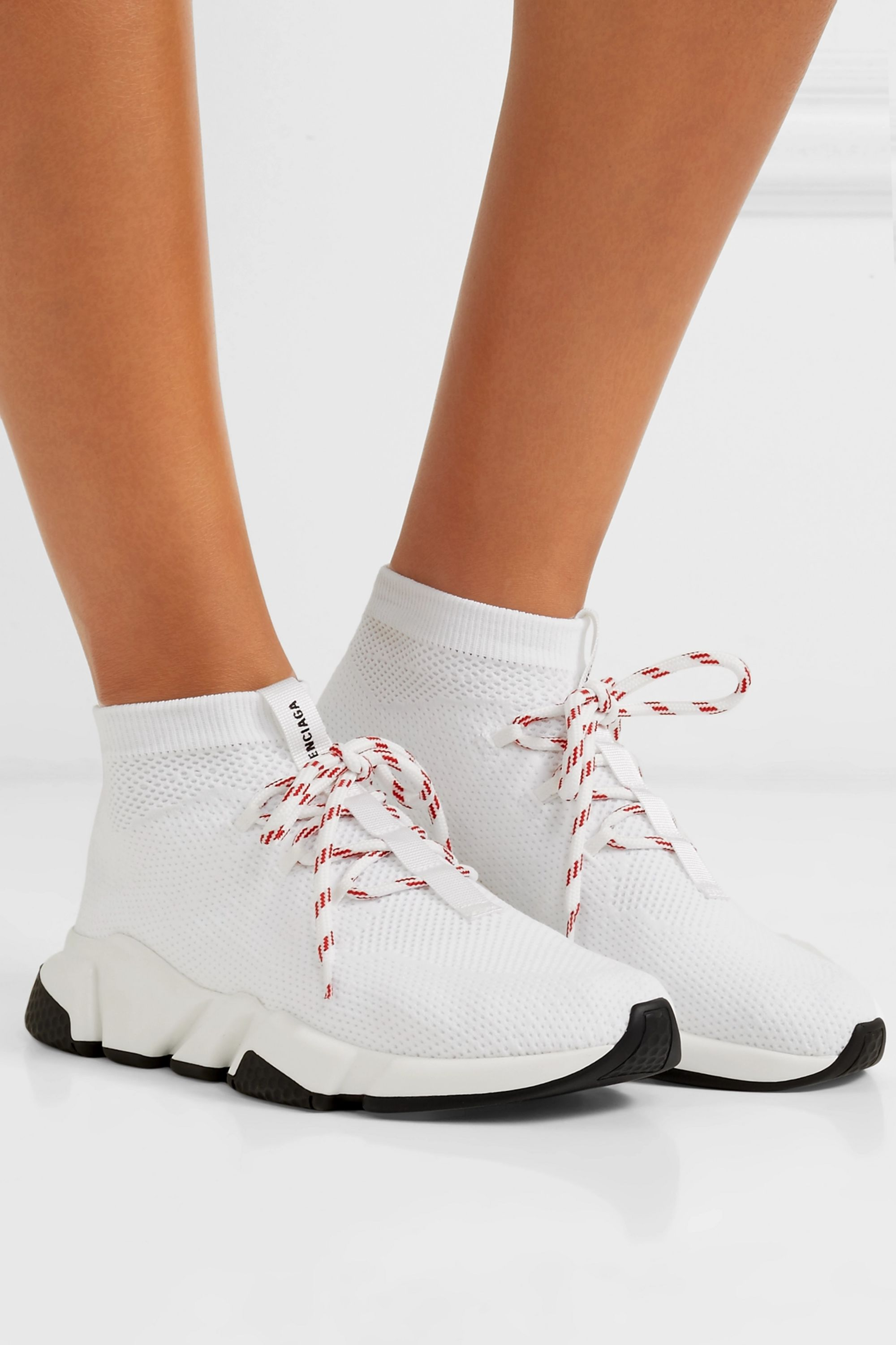 White Speed stretch-knit high-top