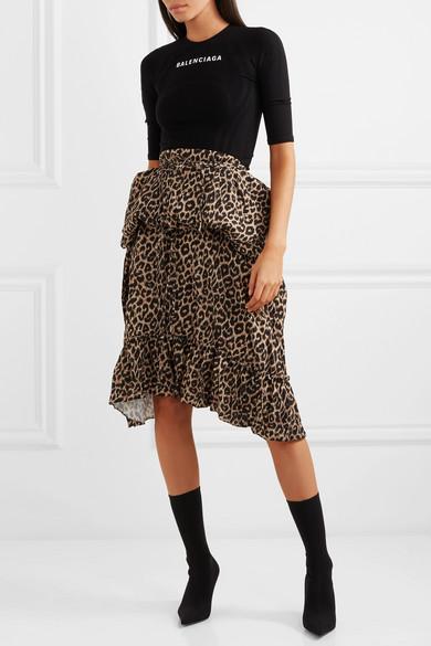 Balenciaga   Kleid aus Stretch-Jacquard und Crêpe mit Leopardenprint ... 915e8e9da5