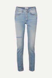 High-rise distressed slim-leg jeans
