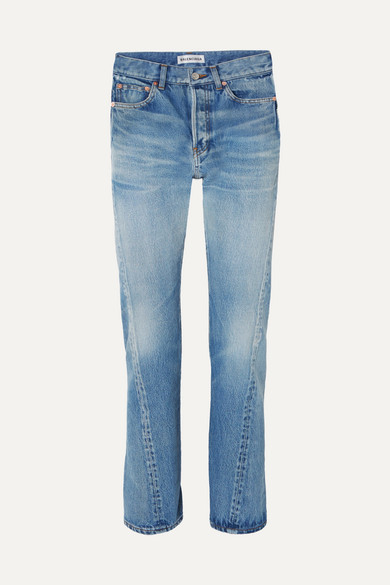 Twisted High Rise Straight Leg Jeans by Balenciaga