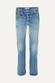 Twisted high-rise straight-leg jeans