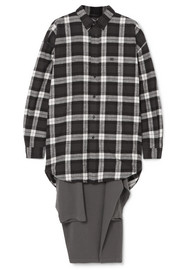 Balenciaga Oversized checked flannel and jersey hybrid top