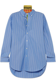 Tag oversized appliquéd striped cotton-poplin shirt