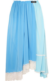 Lace-trimmed jersey midi skirt
