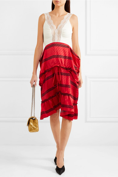 Convertible Lace-trimmed Stretch-jersey And Striped Silk Dress - Red Balenciaga Find Great Sale Online Factory Outlet Online 100% Original Online js9N8QC3z