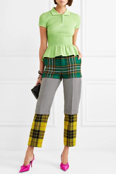 c18bdec890f8 Convertible paneled tartan and houndstooth wool straight-leg pants