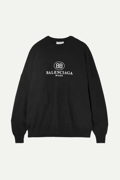 Logo Embroidered Wool Knit Sweater in Black