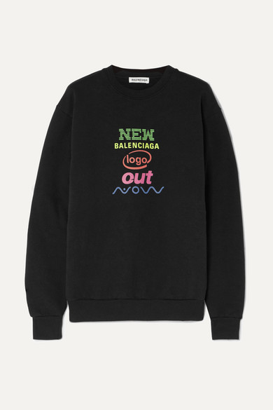 Printed Cotton Blend Jersey Sweatshirt by Balenciaga