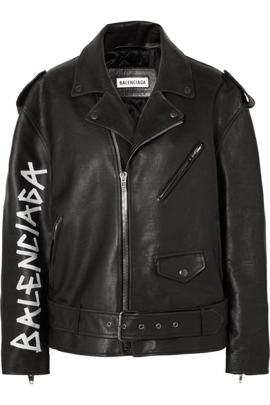 Oversized Painted Textured-Leather Biker Jacket, Black
