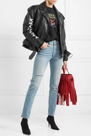Oversized painted textured-leather biker jacket
