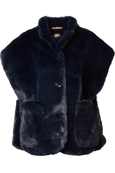 Whalton Faux Fur Shearling Cape, Navy